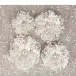 fleurs dentelle - lot de 4