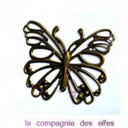 grand papillon métal bronze