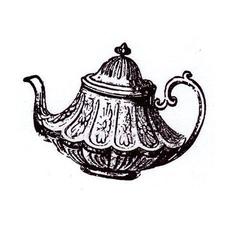 """Pas à pas classeur de recette  """" le matériel """" Le-the-theiere-vintage-tampon-nm"""