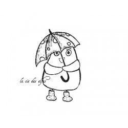 oiseau parapluie tampon nm