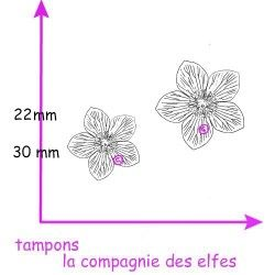 tampon hellébore - rose de Noël - tampon petit modèle nm